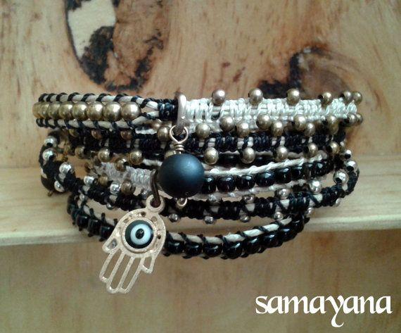Bracelet Varanasi 5 turns black gold plated Charm by Samayana