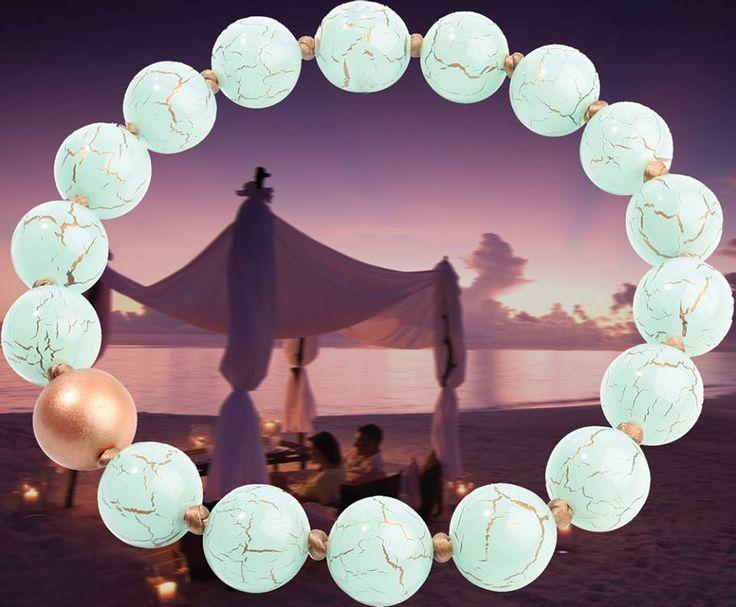 Perline di resina di 25mm a mano annodati su filo di seta. Con questo ornamento della collezione Terra di cultura si mix di venire questa estate buona per il giorno.