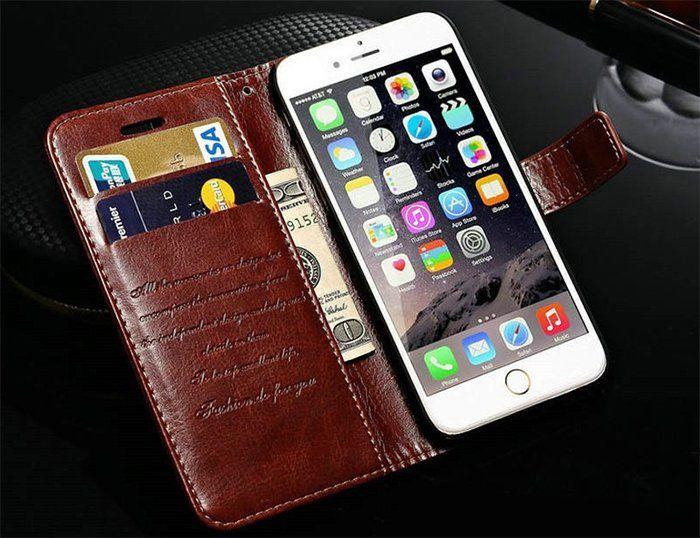 Кожаный чехол бумажник для iPhone 6 6S