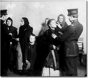 Immigrants being checked for illnesses. If any were found the immigrants were sent back to their home country right away.