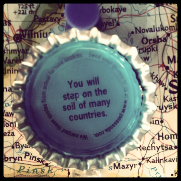 Travel fortune, as foretold by the inside of a Jones Soda cap.
