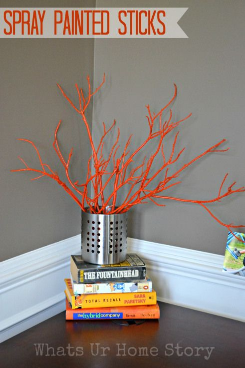Don't throw away the branches from your yard while Spring cleaning. Spray paint them and use as decor! Tutorial at www.whatsurhomestory.com