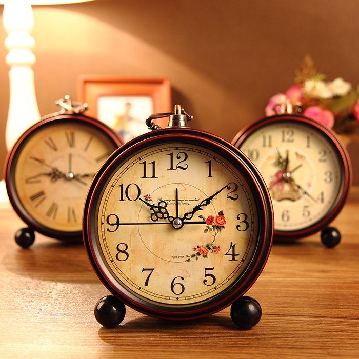 Vintage fashion rustic alarm clock lounged student mute alarm clock brief small bedside alarm clock