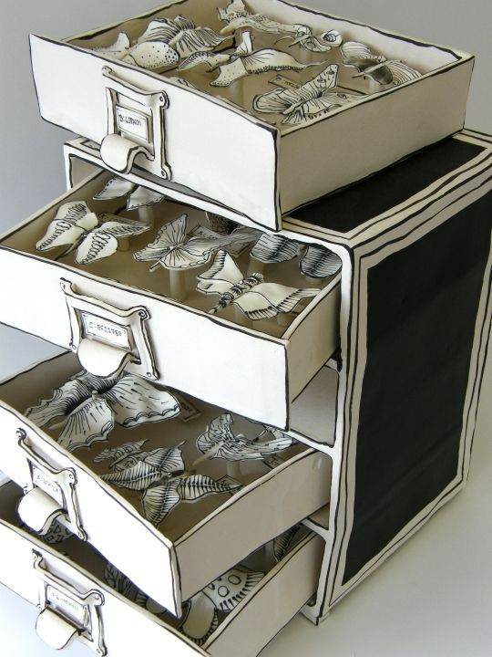stack of butterfly drawers by Katharine Morling Earthstone, porcelain and black stain