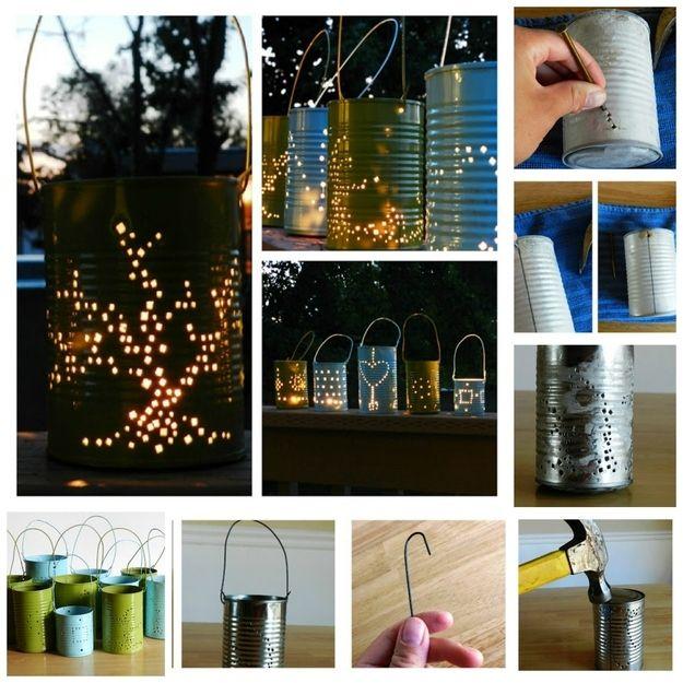 Tin Can Lanterns | 28 Outdoor Lighting DIYs To Brighten Up Your Summer