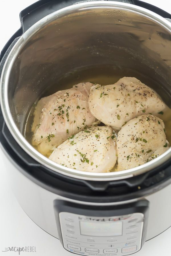 This is the BEST way to cook frozen chicken breasts in the Instant Pot! It is so easy and they turn out so well, I almost never take the time to thaw chicken before cooking it. Add seasonings, sauces, broth, or just water, salt and pepper and the result is always amazing. | pressure cooker | pressure cooking | healthy recipe | dinner | chicken dinner | #pressurecooker #instantpot #chicken #recipe