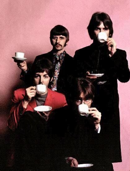 John, Paul, George and Ringo drinking coffee