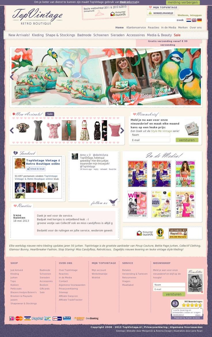 Top Vintage http://topvintage.nl/nl/ #webshop met vintage-stijl kleding, schoenen en sieraden