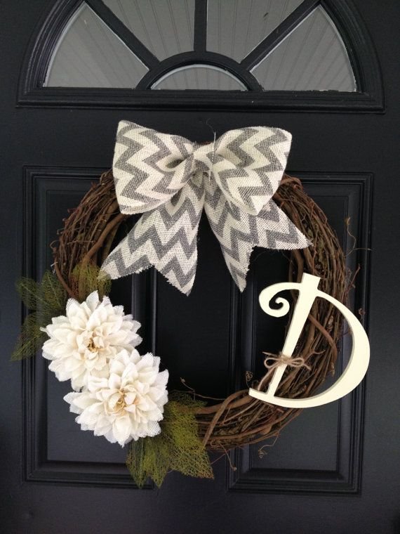 Handmade, personalized initial grapevine wreath with chevron bow and flowers