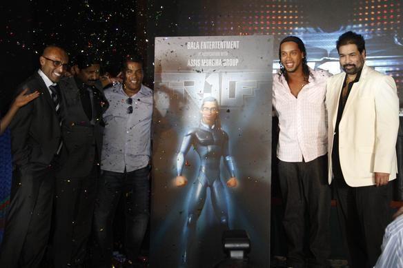Estrela de cinema: Ronaldinho apresentou, na Índia, cartaz do seu filme de animação