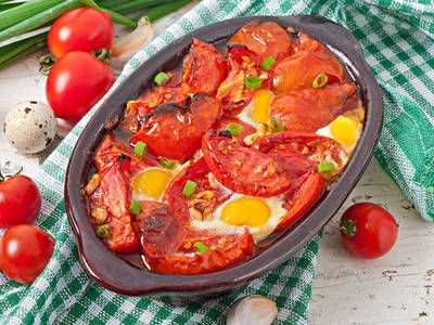 Oven Baked Tomatoes and Eggs