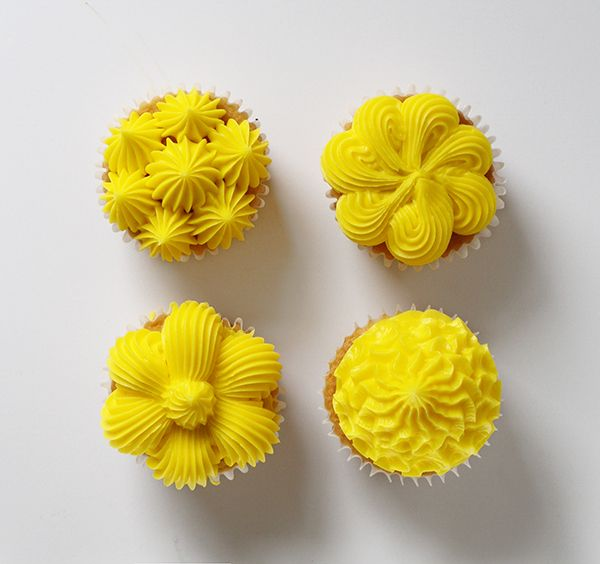 four cupcake decorating techniques using a large french star tip