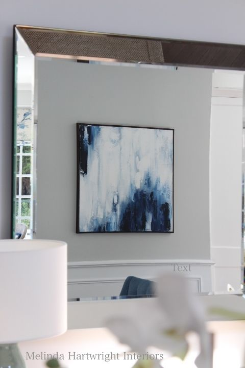 Blue and white oil painting, wainscoting, Benjamin Moore Grey Owl