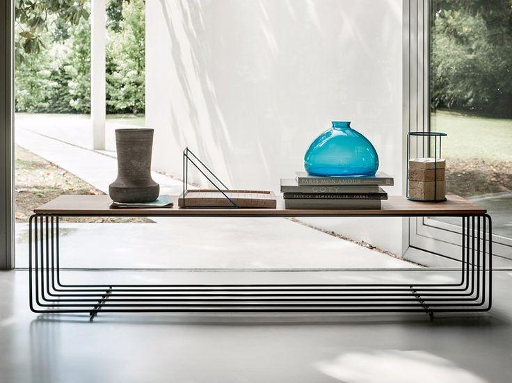 Mesita rectangular de madera FENCE by Lema diseño Christophe Pillet