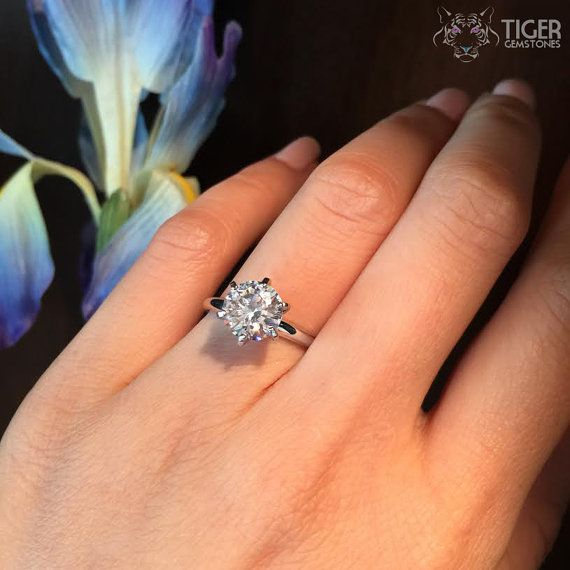 2 Carat 6 Prong Solitaire Engagement Ring 8mm by TigerGemstones