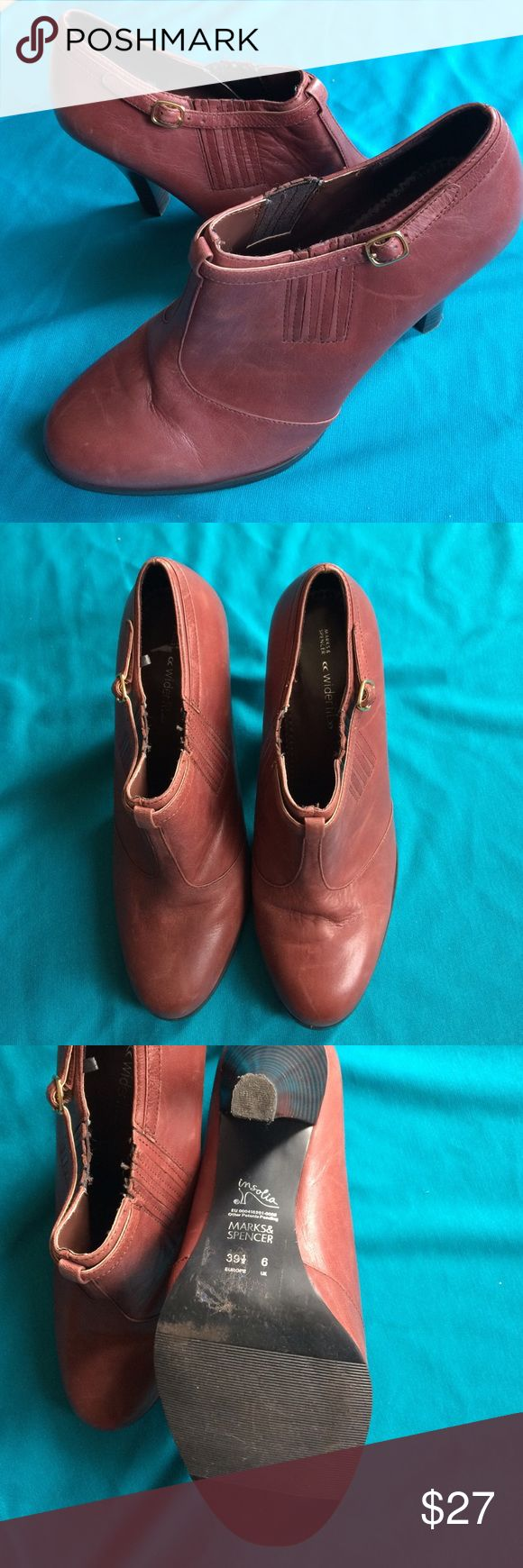 """Marks Spencer wider fit booties 3"""" heel Brown colored slip on bootie. 3"""" heel in good used condition. Shoe shoes some patina (scuffs) on leather. But overall a great fall/winter shoe. No trades at this time but I do offer 15%off bundles. Marks & Spencer Shoes Ankle Boots & Booties"""