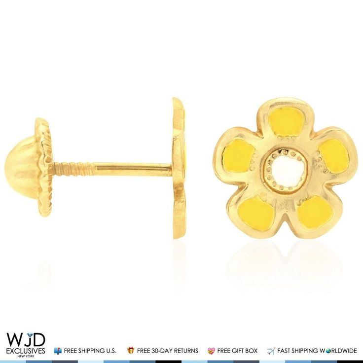 These yellow flower enamel stud earrings are finished in 14K solid yellow gold andare safely secured with comfortable baby screw back closure for a perfect fit. Product Specifics   Metal 14k Yellow Gold   Style Yellow Enamel Flower Baby Screwback Stud Kids Earrings   Finish High ...