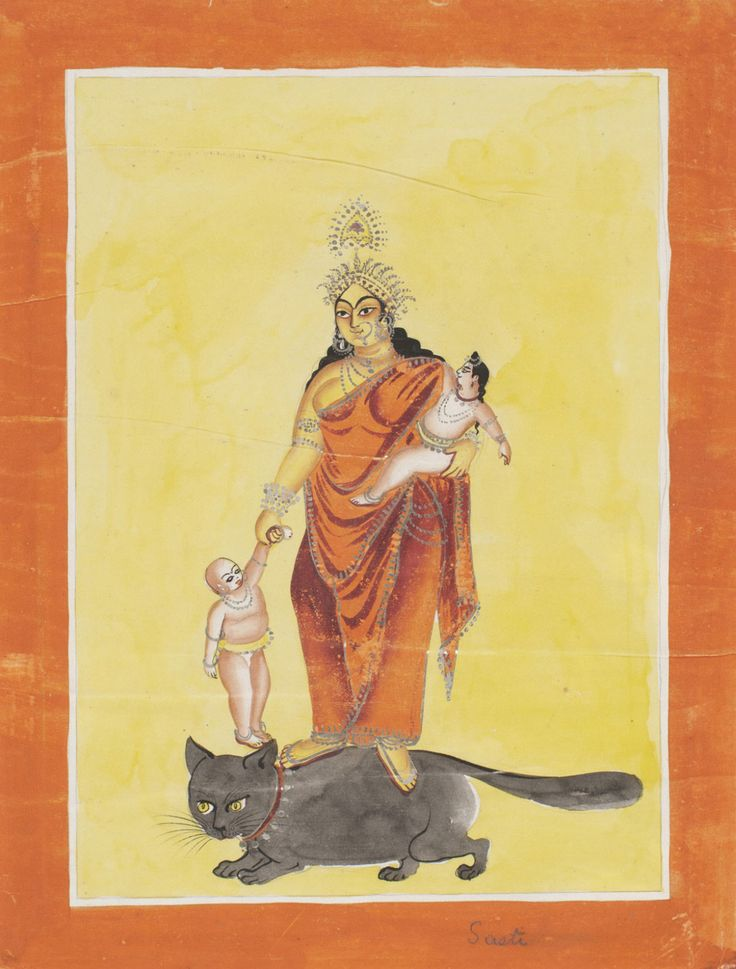 Souvenir Painting of the Goddess Shashthi on a Cat, Kalighat style, c. 1880, Bengal