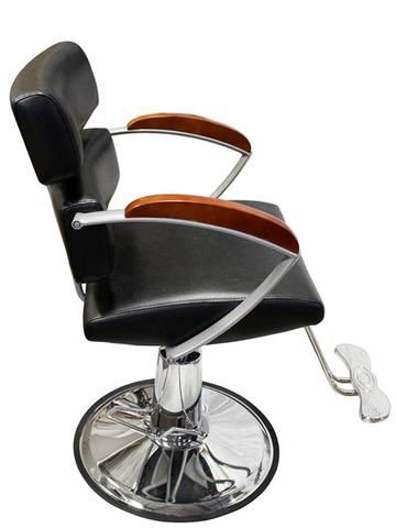 Professional Styling Chair The chair is designed with elegant solid wood and chrome armrests and accent styling. Chair upholstered in durable, easy to care for PVC black leatherette.