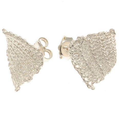 Knit Studs, Silver – Mora Designer Jewelry