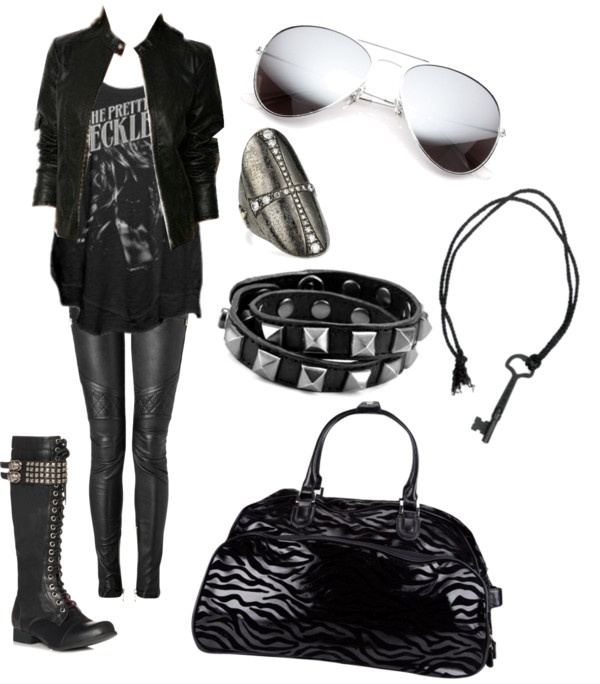 "I so want that bag, necklace and shirt! :O  ""Untitled #1599"" by murder-at-sanitarium-square on Polyvore"