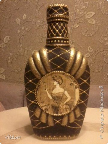 Декор предметов Декупаж Бутылочка Бутылки стеклянные Краска Салфетки фото 1