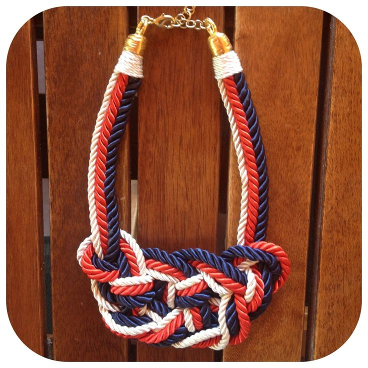 NEw Blue/red/white satin-rope necklace with gold clasp.
