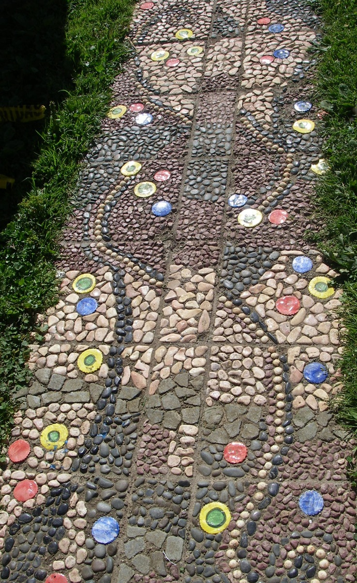 Auckland NZ Pt Chevalier School kids: Stone pavement - Hand made series of pavers