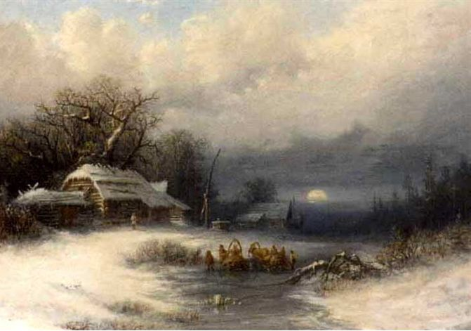 Attributed to Fyodor Alexandrovich Vasil'yev (Russian, 1850–1873) Title: A Russian winter landscape