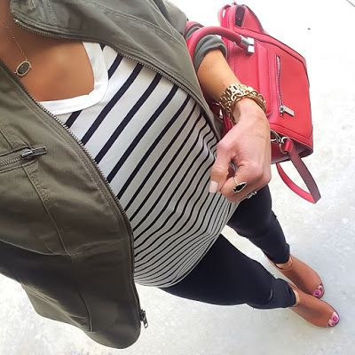 Striped Tee, Olive Express Jacket, Black jeans, cognac peep toe booties, red handbag | On the Daily EXPRESS | Instagram: @ontheDailyX