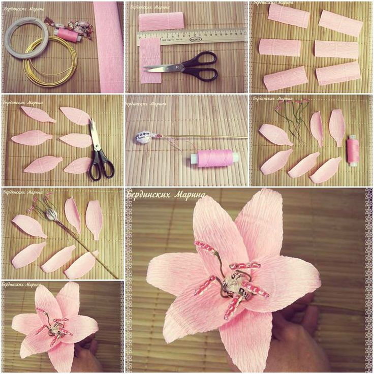 522 best paper flowers images on pinterest fabric flowers flower how to make beautiful lily flowers step by step diy tutorial instructions mightylinksfo