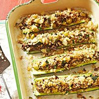 Baked Stuffed Zucchini - I cannot tell you how good this recipe is! My daughter and I both found ourselves standing over the stove and nibbling (I'm surprised there was any left for the rest of the family).
