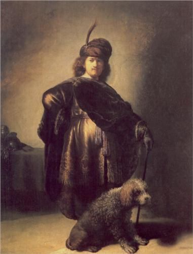 Self-portrait in oriental attire with poodle - Rembrandt