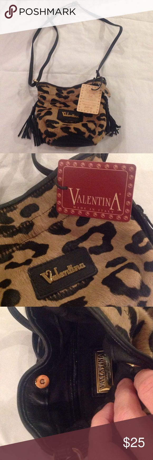 "Small Valentina ANIMAL PRINT Bag Small (about 6""x6"") pony hair bag by Valentina with animal print. Perfect for a night out! Valentina Bags"