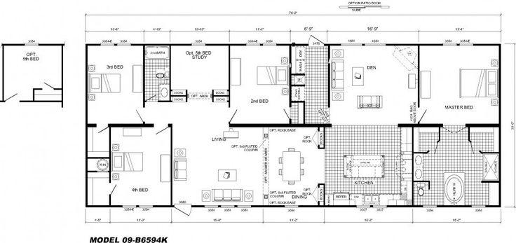 modular home floor plans 4 bedrooms | Bedroom Floor Plan: B-6594 | Hawks Homes | Manufactured & Modular ...