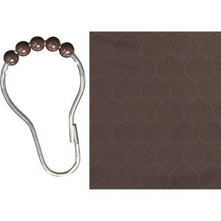 Kenney Shower Liner and Beaded Rings Set, Brown
