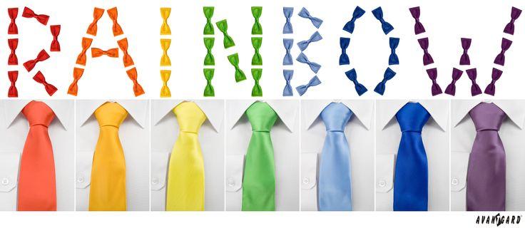 Duhová isnpirace z motýlků značky Avantgard. Duhové kravaty značky Avantgard / Rainbow inspiration, bowtie colours, Avantgard, ties, mens accessories, mens fashion