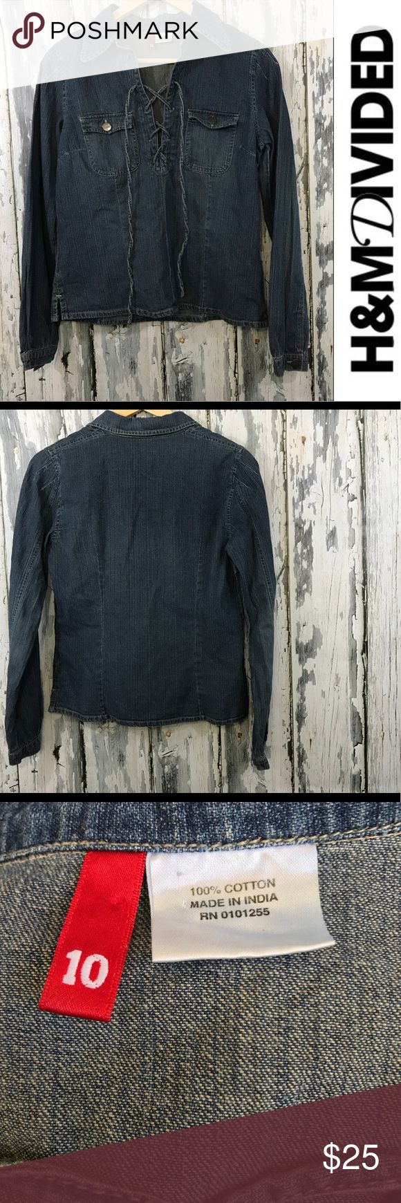 Divided denim lace up top Decided by H&M denim top  A little bit of wear on first loop  Other than that perfect condition   Buy 2 items get the 3rd half off , bundle discounts & accepting all reasonable offers . Divided Tops Blouses
