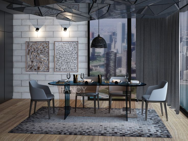 This Marquis Glass Dining table is the ideal versatile solution for a whole host of different interior styles. Beautiful combination of Shaped glass table top and base glass panels gives this dining table the right to be called  a masterpiece  of FansyGlassandMirror's furniture.