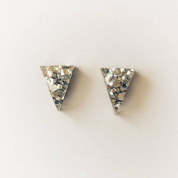 Silver Lux Glitter Triangle Stud Earrings