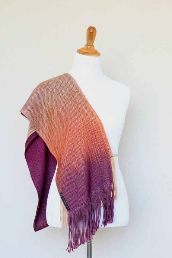 Woven scarf in fuchsia, orange and beige colors. Color changing gradually lengthwise. This long scarf is perfect gift for her! Also this #pashmina scarf is very soft and com... #kgthreads