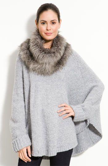 MICHAEL Michael Kors Poncho with Faux Fur Trim (Plus) | Nordstrom