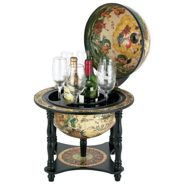 Display your wine and glassware collection with the look and feel of the Old World and our 16th Century Italian Replica Globe Bar. Finished with an exquisite nautical map on a 13  diameter globe, this elegant piece of home bar furniture has a detailed replica fresco interior, as well. Inside the hinged lid, you will find a solid wood interior, suitable for holding up to 3 bottles and 6 stemmed glasses. The globe bar is supported by a matching wood stand, measuring 16.2  x 20  after assembly…