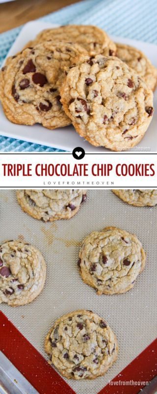 Triple Chocolate Chip Cookies. Delicious chocolate chips cookies with loads of…