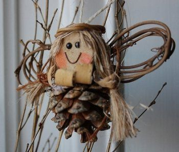 Pinecone angel craft ornament. DIY kids could do!