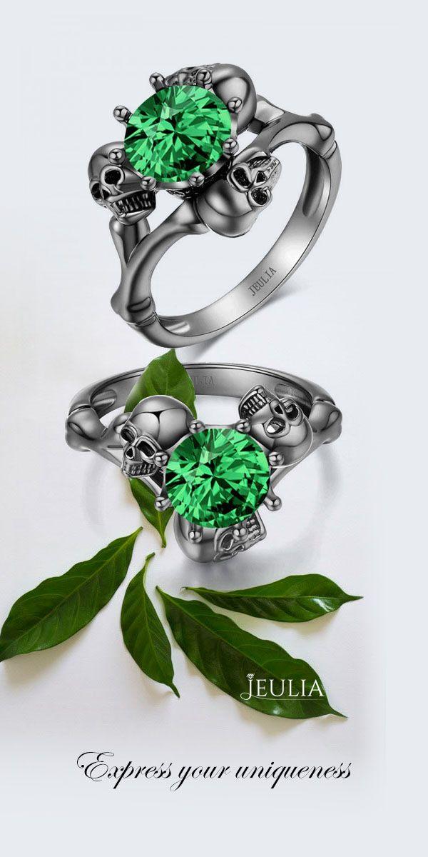 Jeulia Round Cut Created Emerald Three Skull Design Skull Ring #Jeulia