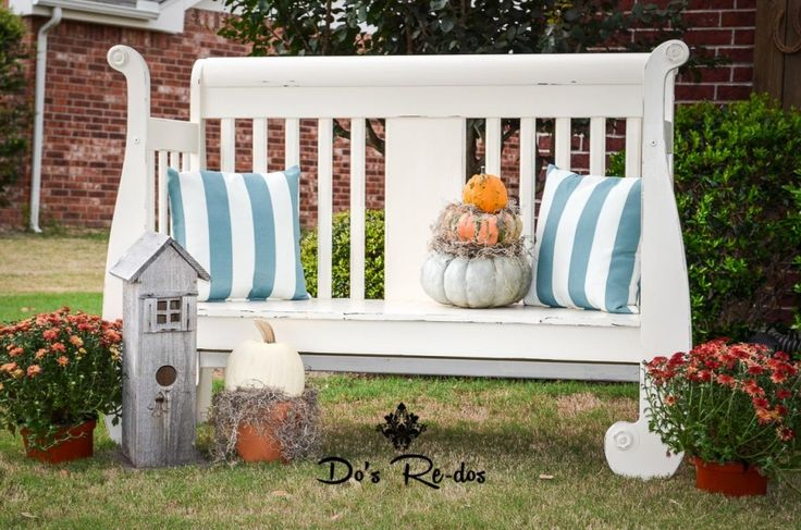 Repurposed sleigh bed bench FALL in LOVE with FALL! Featured Products -  Do's Re-dos by Donna Dodson