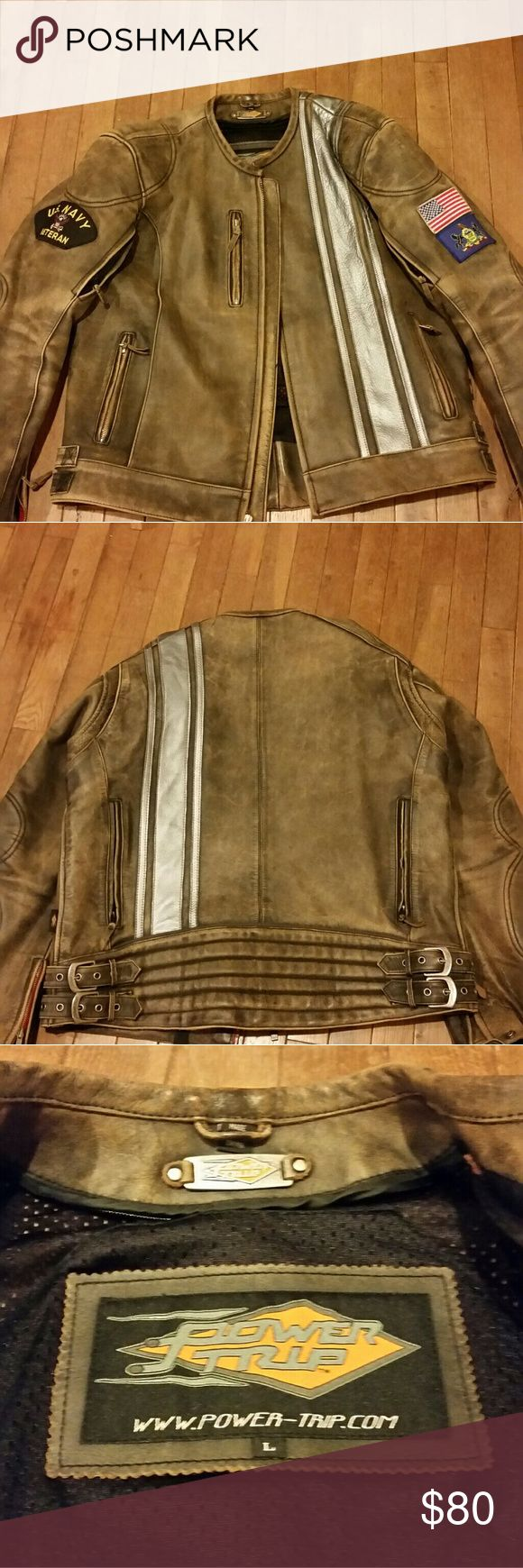 Power Trip leather motorcycle jacket Barely worn, great condition, heavy leather power trip Jackets & Coats