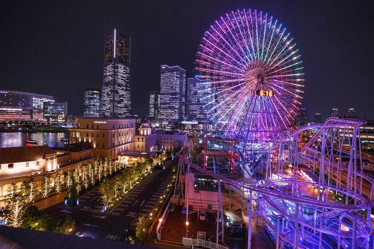 ワールドポーターズ ルーフガーデンからの夜景 コスモワールド 穴場スポット みなとみらい ランドマークタワー 横浜