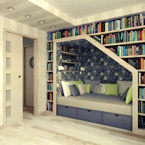book nook :): Bookshelves, Idea, Stairs, Books Shelves, Reading Nooks, House, Books Nooks, Booknook, Readnook